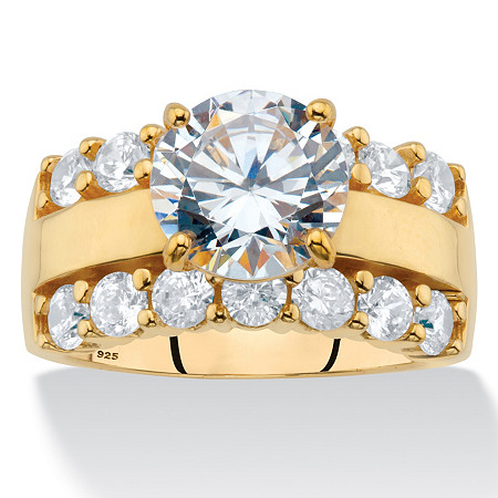 Round Cubic Zirconia Triple-Row Engagement Ring 4.40 TCW in 18k Gold over Sterling Silver at PalmBeach Jewelry
