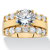 Round Cubic Zirconia Triple-Row Engagement Ring 4.40 TCW in 18k Gold over Sterling Silver