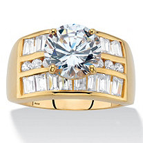 Round Cubic Zirconia Triple-Row Engagement Ring 5.02 TCW in 18k Gold over Sterling Silver