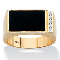 Men's Genuine Black Onyx and Diamond Accent 14k Gold over Sterling Silver Polished Rectangular Ring