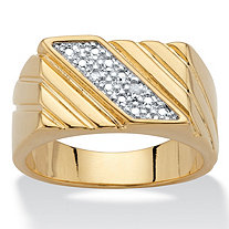 Men's Diamond Accent 14k Gold-Plated Diagonal Grooved Ring