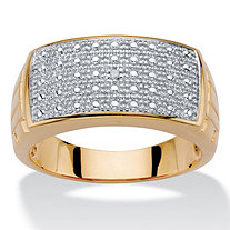 Men's Diamond Accent 18k Gold-Plated Two-Tone Textured Dome Ring
