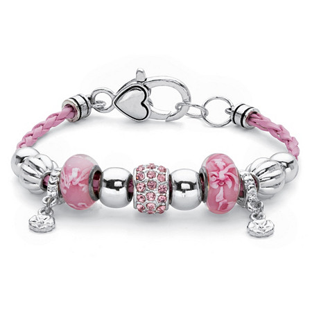 "Pink Crystal Silvertone Bali-Style Beaded Charm Bracelet With Braided Pink Cord 7.5"" at PalmBeach Jewelry"