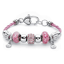 Pink Crystal Silvertone Bali-Style Beaded Charm Bracelet With Braided Pink Cord 7.5""