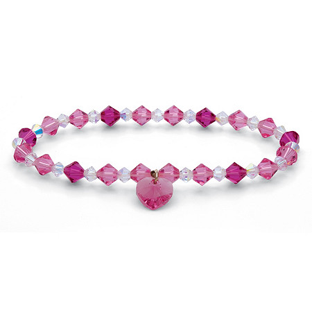 Pink and White Crystal Beaded Heart Charm Stretch Bracelet in Silvertone 7