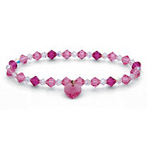 Pink and White Crystal Beaded Heart Charm Stretch Bracelet in Silvertone 7""