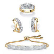 Diamond Accent Two-Tone 14k Gold-Plated 3-Piece Pave-Style Ring, Demi-Hoop Earring and Adjustable Bolo Bracelet Set 9""