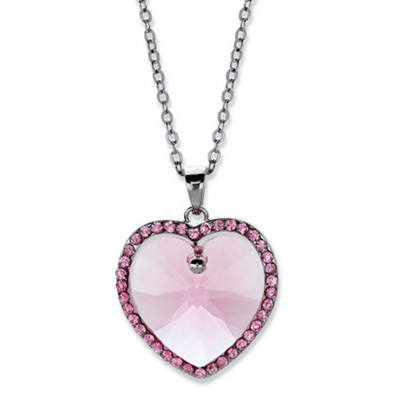 "Pink Crystal Halo Heart Pendant Necklace MADE WITH SWAROVSKI ELEMENTS in Silvertone 15""-16"" at PalmBeach Jewelry"