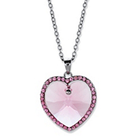 Pink Crystal Halo Heart Pendant Necklace MADE WITH SWAROVSKI ELEMENTS ONLY $9.92