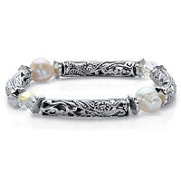 Aurora Borealis Crystal And Simulated Pearl Barrel Bead Stretch Bracelet ONLY $10.99