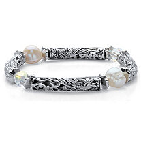 Aurora Borealis Crystal and Simulated Pearl Barrel Bead Stretch Bracelet in Antiqued Silvertone 7""