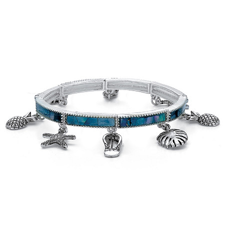 """Simulated Blue Mother-of-Pearl Beach Theme Stretch Charm Bracelet in Antiqued Silvertone 7"""" at PalmBeach Jewelry"""