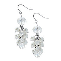 Round Aurora Borealis Crystal and Simulated Pearl Beaded Cluster Earrings in Silvertone