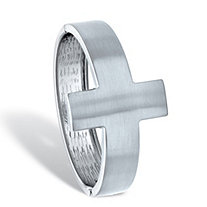 SETA JEWELRY Horizontal Cross Silvertone Cuff Bracelet 7