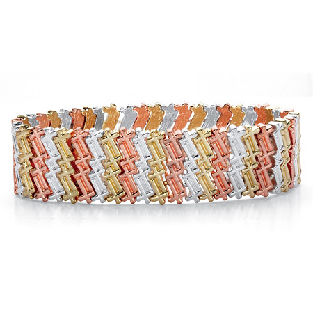 "Tri-Tone Zig Zag Cross Wide Stretch Bracelet in Gold Tone, Silvertone and Rose Tone 7"" at PalmBeach Jewelry"