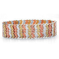 Tri-Tone Zig Zag Cross Wide Stretch Bracelet in Gold Tone, Silvertone and Rose Tone 7