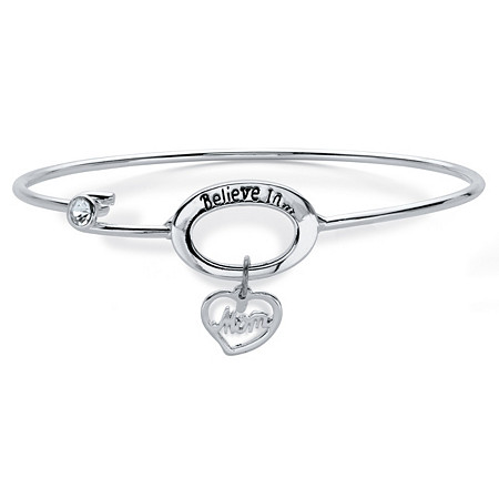 Crystal Accent Believe in Mom Heart Charm Silvertone Bracelet with Fish Hook Closure 7