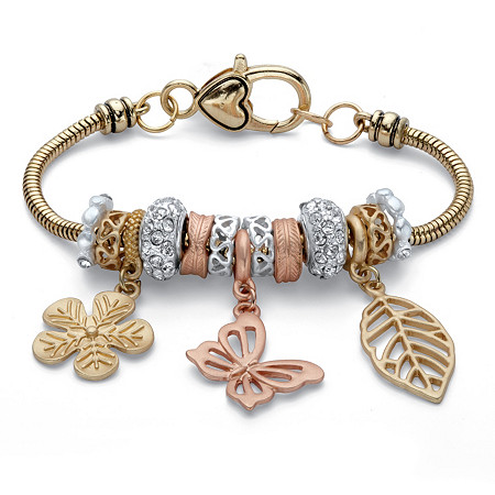 """Crystal Accent Tri-Tone Leaf and Butterfly Charm Bracelet in Gold Tone, Rose Tone and Silvertone 7.5"""" at PalmBeach Jewelry"""
