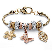 Crystal Accent Tri-Tone Leaf and Butterfly Charm Bracelet in Gold Tone, Rose Tone and Silvertone 7.5