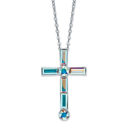 Aurora Borealis Crystal Cross Charm Pendant Necklace in Silvertone 18