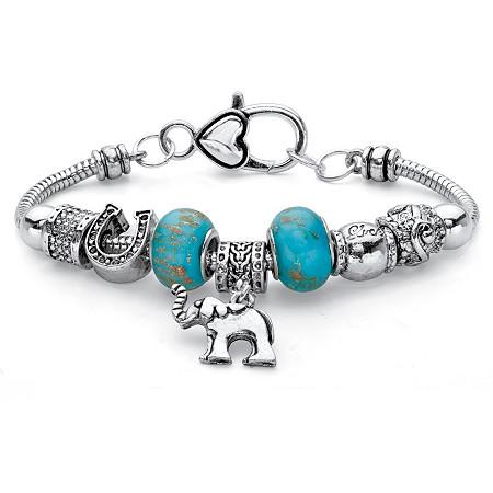 Blue Bali-Style Beaded Elephant Charm Bracelet in Antiqued Silvertone 7.5