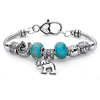 Blue Bali-Style Beaded Elephant Charm Bracelet in Antiqued Silvertone 7.5""