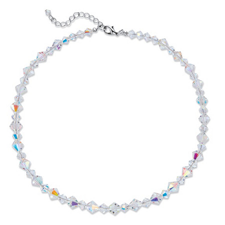 "Aurora Borealis Crystal Beaded Collar Necklace in Silvertone 16""-18"" at PalmBeach Jewelry"