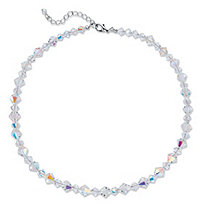 Aurora Borealis Crystal Beaded Collar Necklace in Silvertone 16