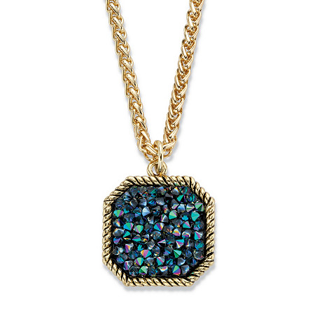 "Mystic Fire Crystal Antiqued Goldtone Octagon Pendant Necklace 18""-20"" at PalmBeach Jewelry"