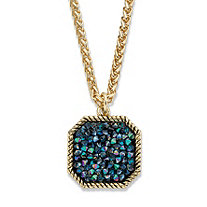 "Mystic Fire Crystal Antiqued Goldtone Octagon Pendant Necklace 18""-20"""