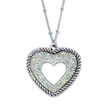 Aurora Borealis Open Crystal Antiqued Silvertone Heart Pendant Necklace 18""