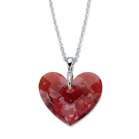 "Faceted Red Crystal Silvertone Heart-Shaped Pendant Necklace Made With Swarovski Elements 16""-18"" at PalmBeach Jewelry"