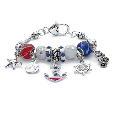 """Aurora Borealis Crystal Red White and Blue Nautical Charm Bracelet in Antiqued Silvertone7.5"""" at PalmBeach Jewelry"""
