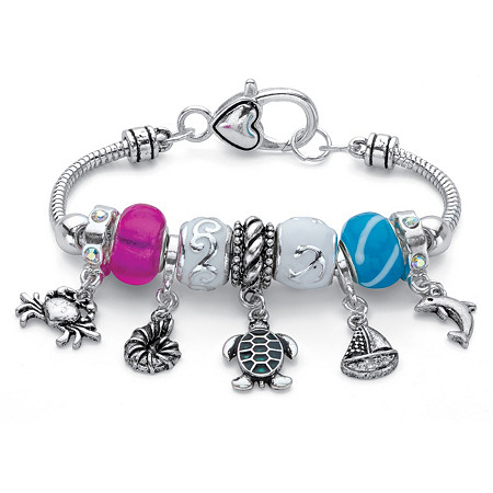 "Aurora Borealis and Multi-Color Bali-Style Sea Life Charm Bracelet in Antiqued Silvertone 7.5"" at PalmBeach Jewelry"