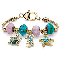 Pink and Blue Crystal Bali-Style Beaded Marine Life Charm Bracelet in Gold Tone and Black Ruthenium-Plated 7.5""