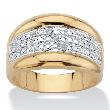 Diamond Accent 14k Gold-Plated Two-Tone Stippled Dome Ring at PalmBeach Jewelry