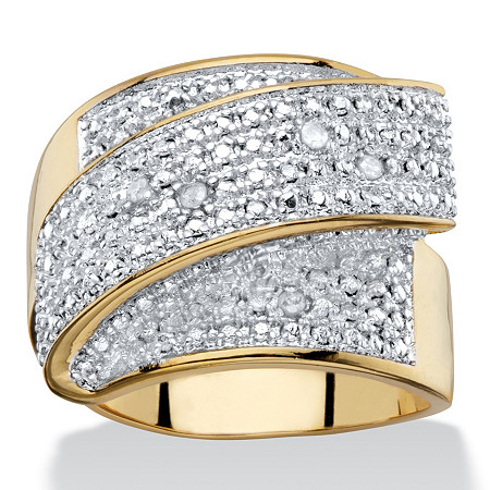 Diamond Accent 14k Gold-Plated Two-Tone Wide Band Diagonal Ring at PalmBeach Jewelry