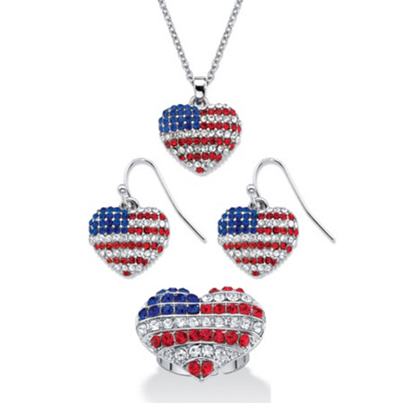 Crystal Heart-Shaped American Flag 3-Piece Necklace, Drop Earring and Adjustable Ring Set in Silvertone 18