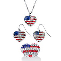Crystal Heart-Shaped American Flag 3-Piece Necklace, Drop Earring and Adjustable Ring Set in Silvertone 18""