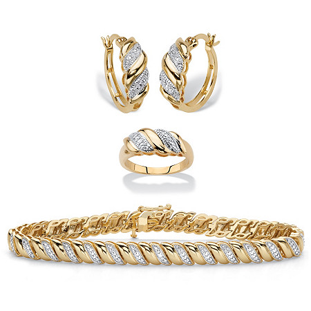 Diamond Accent 14k Gold-Plated Diagonal S-Link Hoop Earring and Bracelet Set With BONUS Free Ring 7.25