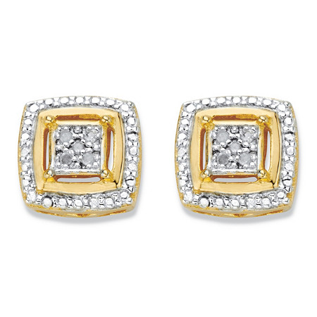 Diamond Accent Squared Two-Tone 14k Gold-Plated Button Earrings at PalmBeach Jewelry
