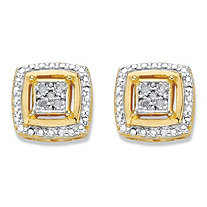 Diamond Accent Squared Two-Tone 14k Gold-Plated Button Earrings