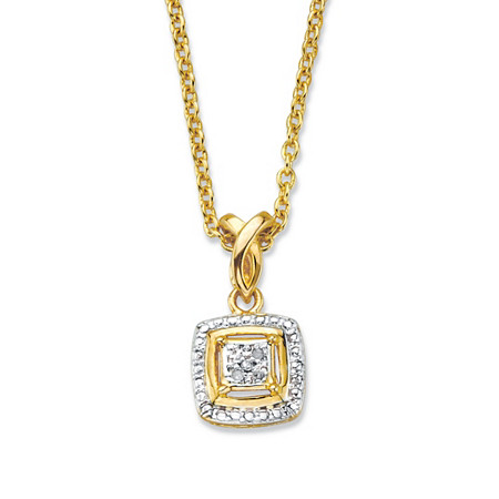 """Diamond Accent Squared Two-Tone 14k Gold-Plated Pendant Necklace 18"""" at PalmBeach Jewelry"""