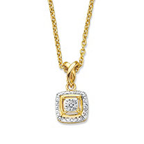 Diamond Accent Squared Two-Tone 14k Gold-Plated Pendant Necklace 18""