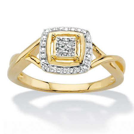 Diamond Accent Squared Two-Tone 14k Gold-Plated Ring at PalmBeach Jewelry