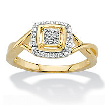 Diamond Accent Squared Two-Tone 14k Gold-Plated Ring