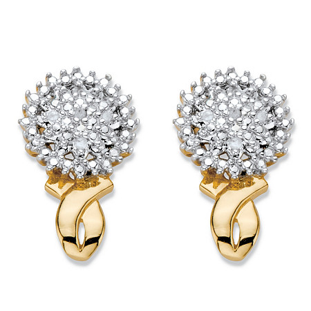 Diamond Accent Round Two-Tone 14k Gold-Plated Cluster Button Earrings at PalmBeach Jewelry