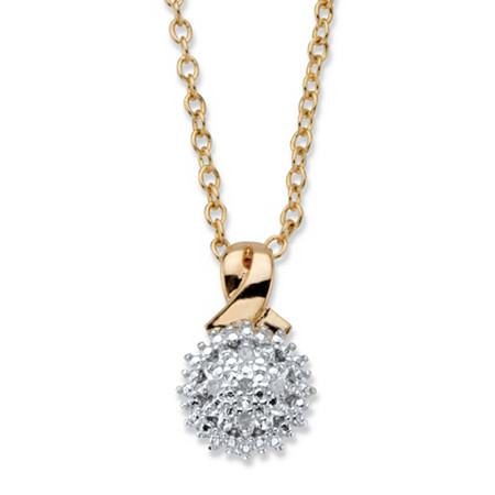 "Diamond Accent Round Two-Tone 14k Gold-Plated Cluster Pendant Necklace 18""-20"" at PalmBeach Jewelry"