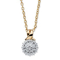 Diamond Accent Round Two-Tone 14k Gold-Plated Cluster Pendant Necklace 18