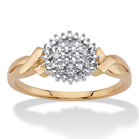 Diamond Accent Round Two-Tone 14k Gold-Plated Cluster Crossover Ring at PalmBeach Jewelry